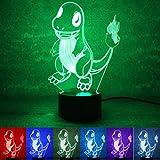 3D Leuchte 3D Lampe Deko 3D LED Lampe Hologramm mit Farbwechsel - Auswahl aus 81 verschiedenen Motiven, hier Drache 2 ca.22x15cm inkl.Sockel - 3D Illusion Dekolicht mit USB Anschluß