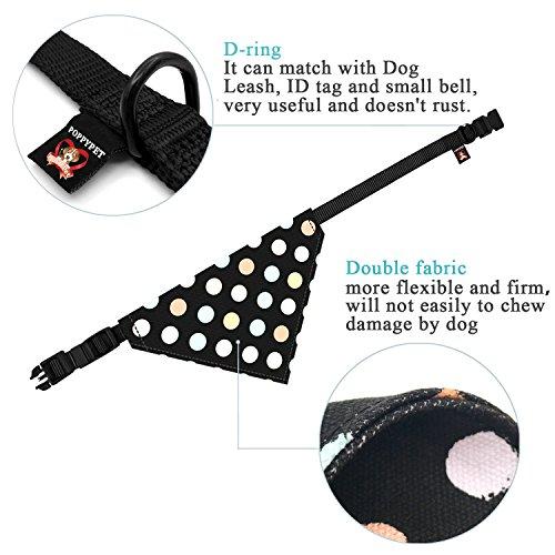 Poppypet Halstücher für Haustier, Mode Design Halstuch für Hunde oder Katzen, Hunde Bandana Bequeme Stoffe Haustier Schal Punkte Muster 29cm- 48cm Verstellbare Schwarz - 4
