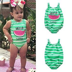 Traje de baño para 1-6 años niña bebé Bañador a Rayas de sandía de una Pieza Ropa de Playa 14