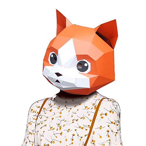 LFIWN Halloween Maske Papier Masken Cat Head Party Maskerade Mascara Masque DekorationSchöne Prop