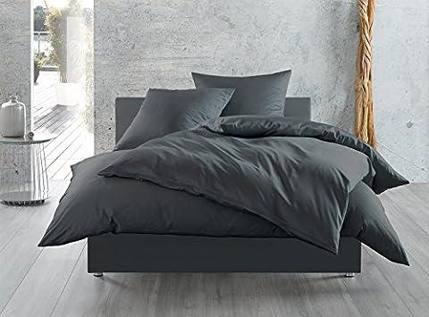 Mako-Satin Baumwollsatin Bettwäsche uni einfarbig zum Kombinieren (80 cm x 80 cm, Anthrazit)