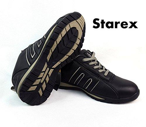 Scarpe antinfortunistiche sportive, calzature da lavoro, Pelle, Yellow/Camel Suede, 10 Grey/Black