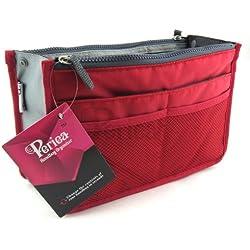 Periea Chelsy Handtasche/Organizer, 12Fächer, 20Farben, rot - rot - Größe: SM: 22 x 15 x 4-9cm
