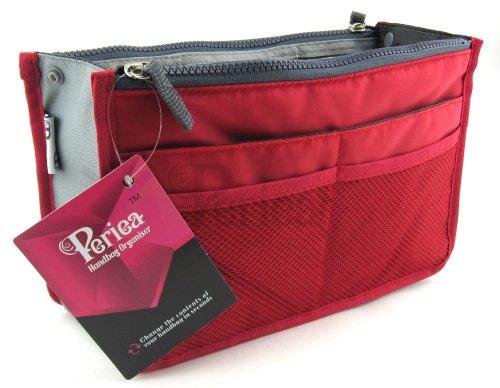 Periea - Organiseur de sac à main, 12 Compartiments - Chelsy (Rouge, Grand: H20 x L33.5 x P2-26cm)