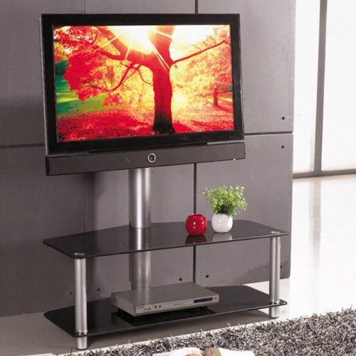 Mobile Porta TV LCD Moderno in Acciaio e Vetro 110x54x120cm Concept Black Mobiletto Salvaspazio Salvafili Per Televisori da 32