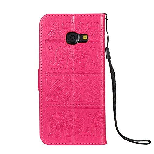 Für Samsung Galaxy A3 2017 Premium Leder Schutzhülle, weiche PU / TPU geprägte Textur Horizontale Flip Stand Case Cover mit Lanyard & Card Cash Holder ( Color : Purple ) Red