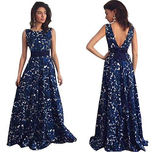 Partykleid FORH Frauen Floral Print lange Formale Abendkleid Sexy Rückenfrei Kleid Party Ballkleid Abend Hochzeitskleid Solid Bowknot Taillengürtel Tunikakleid Festliche Kleider (S, Blau) (Kleid Plus Reich Size)