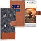 kwmobile Hülle für Sony Xperia XA1 - Wallet Case Handy Schutzhülle Kunstleder - Handycover Klapphülle mit Kartenfach und Ständer Anthrazit Braun