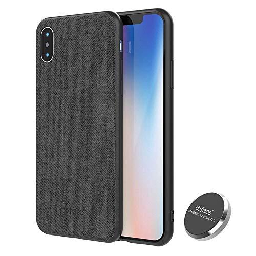 bb face Für iPhone XR Magnetisch Hülle Stoffmuster Handyhülle Bumper Cover mit Eingebauter Metal Plate für Magnetische Halterung - 6,1 Zoll,Schwarz