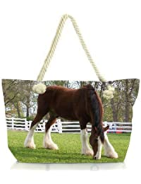 Snoogg Brown And White Horse Women Anchor Messenger Handbag Shoulder Bag Lady Tote Beach Bags Blue