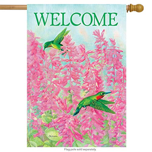 CHKWYN Welcome Hummingbird Spring House Flag Hibiscus Floral for Party Outdoor Home Decor Size: 28-inches W X 40-inches H -
