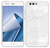 Sunrive Für ASUS Zenfone 4 ZE554KL 5,5 Zoll Hülle Silikon, Transparent Handyhülle Schutzhülle Etui Case Backcover für ASUS Zenfone 4 ZE554KL 5,5 Zoll(TPU Blume Weiße)