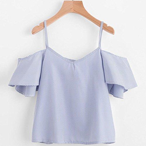 Damen Sommer Tops, Btruely NadelstreifenBluse V-Hals T-Shirt (L, Blau) (Nadelstreifen-cami Top)