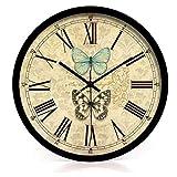 Dongy Relojes de Pared Antiguos 12 Pulgadas silencioso sin marcar números árabes Relojes de Pared Redondos para Sala de Estar Cocina Dormitorio Oficina en casa