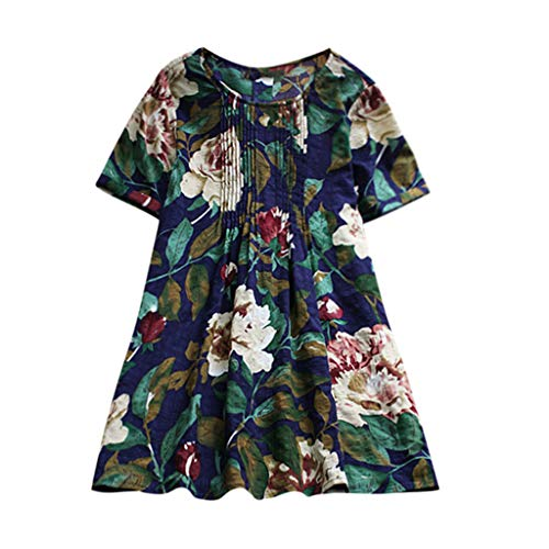 Tefamore De Plus Taille Femme Fleur Imprimer Casual Courtes Manche Hauts T-Shirt(Marine,Large)