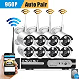 [Better Than 720P]Smonet 8CH HD Wireless Security System with 8pcs Superior Night Vision 960P Wireless CCTV Camera System,P2P,2TB HDD Pre-installed