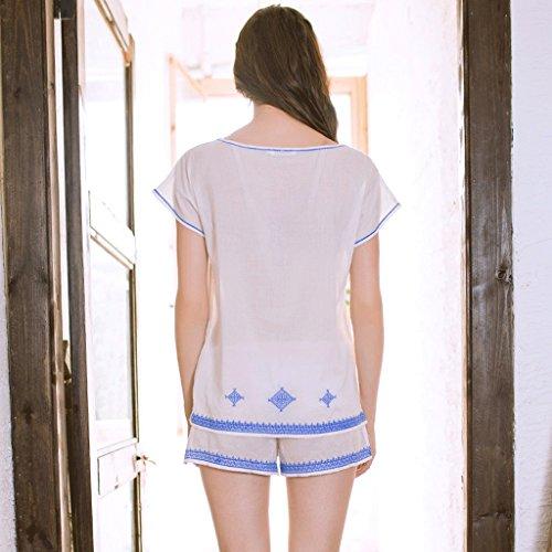Sommer süße Dame Kurzarm Haus Service Anzug Weiß