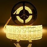 LEDMO Warmweiß LED Streifen,LED BAND strip 5 Meter länge Wasserdicht Flexible lichtband mit 600 LEDs(SMD2835), für den Innenraum und Halb-außenraum Balkon(nicht inkl. Netzteil Adapter)