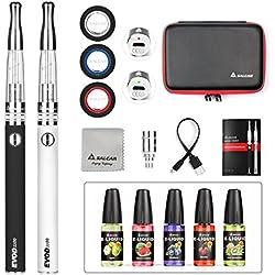 Salcar® Cigarrillo electrónico EVOD CE8 con doble kit de iniciación, batería recargable de 1100mAh, Vaporizador de 2.0ml + 5x 10ml set E-Líquido, 0,00 mg Nicotina ( nergo+plata)