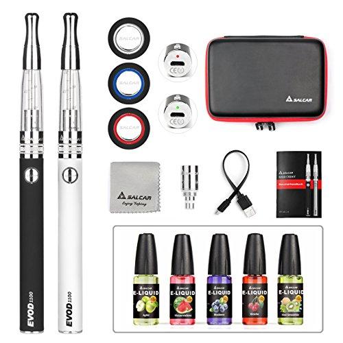 Salcar EVOD CE8 E-cigarette Kit de Deux Cigarettes Electroniques + 5x 10ml set e liquide (Noir + Argent), Sans Tabac Ni Nico