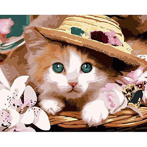 MAGICXYZ Malen Nach Zahlen DIY Vorgedruckt Leinwand-Ölgemälde Katze trägt einen Hut 40x50 cm Geschenk für Erwachsene Kinder Malen Nach Zahlen Kits Home Haus Dekor(Ohne Rahmen)