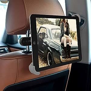 iPad Car Holder - MEMTEQ Tablet Headrest Mount Car Backseat Holder With 360 Degree Rotation Tablet Car Holder for iPad Mini, iPad Air, 7 - 10.1 Inch Tablets, Travel Kit (Black and Grey)