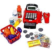 yoptote Caja Registradora Juguetes Supermercado Infantil Mercado Juguete Alimentos Juguetes Educación Calculo con Micrófono y Iluminar