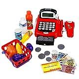 Toy Till Cash Register Supermarket Play Drawer Market Stall Set Shopping Basket Playset