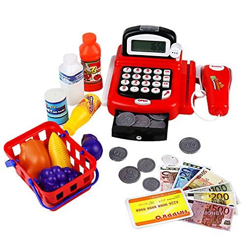 yoptote Spielzeug Kasse mit Scanner Rollenspiel Spielkasse Supermarktkasse Elektronische Kasse Inklusive Zubehör für 3 4 5 Jahre Mädchen Junge