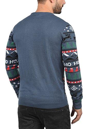 BLEND Herren Weihnachtspullover Christmas-Strickpullover Feinstrick mit Rundhals-Ausschnitt aus hochwertiger Materialqualität Denim Blue/ Ho (74660)