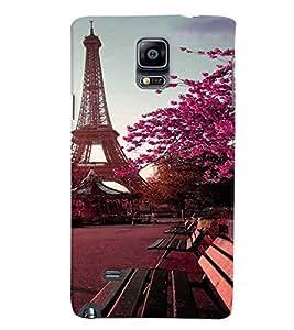 Fuson Premium Eifel Tower Printed Hard Plastic Back Case Cover for Samsung Galaxy Note 4 N9100