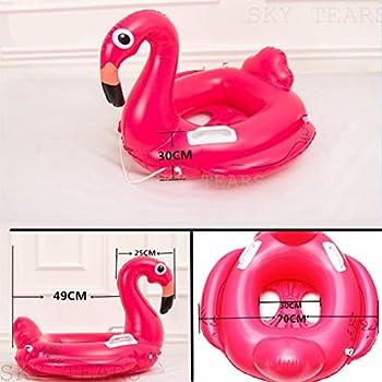 Baby Schwimmsitz Rosafarbener Flamingo Aufblasbar Kinder Schwimmring Einhorn Cartoon Aufblasbares Schwimmreifen Badespielzeug (Baby Schwimmring, Baby Flamingo) 2