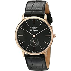 Rotary Men's Quartz Watch with Black Dial Analogue Display and Black Leather Strap GS90053/04