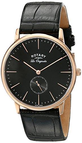 Rotary Watches gs90053/04 - Reloj para hombres, correa de cuero color negro