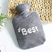 Preisvergleich für DQMEN Wärmflasche 0.8 Liter mit supersoft Plüsch Bezug langlebig und sicher, das perfekte Geschenk, bietet Warme...