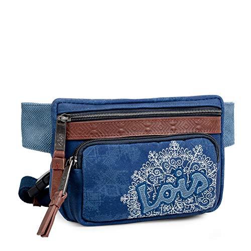 Lois - Riñonera Casual Cintura Ajustable. Compartimentos Móvil y Documentos. Lona Denim Vaquera y Cuero PU Polipiel. Tamaño Grande, Gran Capacidad. 301510, Color Azul