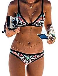 QHGstore BKN Totem impresi¨®n empuja hacia arriba el traje de ba?o del tri¨¢ngulo del halter Bikinis impreso floral del color multi M