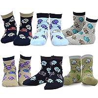 TeeHee (Naartjie) Kids Boys Cotton Fashion Fun Crew Socks 6 Pair Pack (6-8 Years, Skulls)