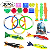 MTOYH E 20 PCS Underwater Swimming Diving Pool Toys for Children Kids Diving Rings Torpedo Bandits Water grass Waterproof Storage Bag