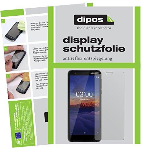 dipos I 2X Schutzfolie matt passend für Nokia 3.1 Folie Bildschirmschutzfolie