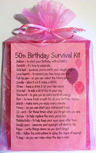 50th Birthday Novelty Survival Kit - Pink