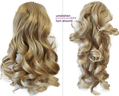 Prettyshop 2 in 1 40cm e 50cm di estensioni dei capelli parrucca coda di cavallo fibre sintetiche ingombranti eresistente al calore candeggina bionda #25t613 h7-2