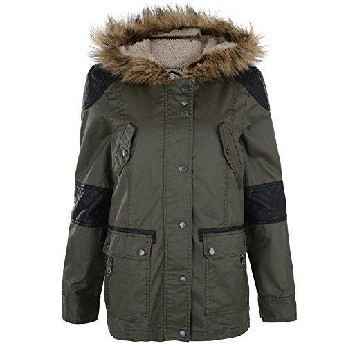 Damenjacke Bellfield Neu Rand Kunstpelz Winter Warm Gefütterte Kapuze Mode Mantel - Marine, EU 42 - L