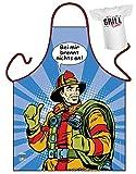 Grillschürze Bei mir brennt nichts an Feuerwehr Comic Look Schürze geil bedruckt Geschenk Set mit Mini Flaschenshirt