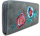 Mevina Damen Geldbörse Blumen Stickerei Nieten bestickt Leder Optik Vintage Design großes Portemonnaie Grau A1312