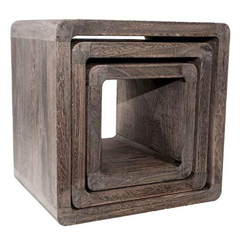 NEG Tisch-Set VINUJA (Dunkelbraun) 3-TLG. Nachttisch/Beistelltisch aus Echtholz (Paulownia) -