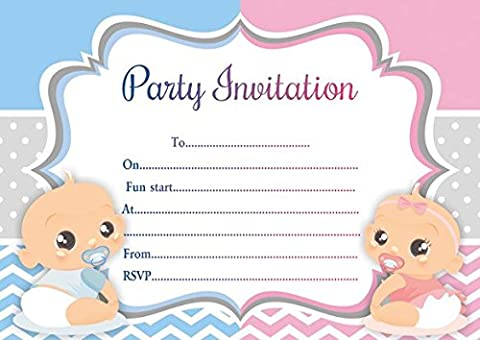 10 x Twins Children Birthday Party Invitations