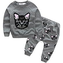 Goodsatar Mezcla de algodón Ropa de bebé para niños Manga larga Gatos Impresiones Chándal + Pantalones Conjunto de trajes