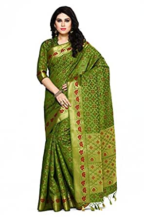 MIMOSA Art Silk Saree With Blouse Piece(4076-2142-Olv_Olive Free Size)