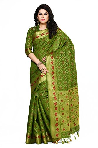 Mimosa By Kupinda Women\'s Art Silk Saree Patola Style (Latest Designer Sarees /Party wear sarees /New collection sarees Color : Olive (4076-2142-OLV)